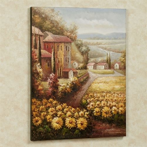 Italian Countryside Sunflower Canvas Wall Art With Regard To Sunflower Wall Art (Image 7 of 25)