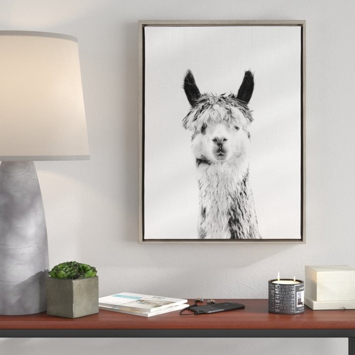 Ivy Bronx Kate And Laurel – Sylvie Llama Black And White Portrait In Gray Canvas Wall Art (View 24 of 25)