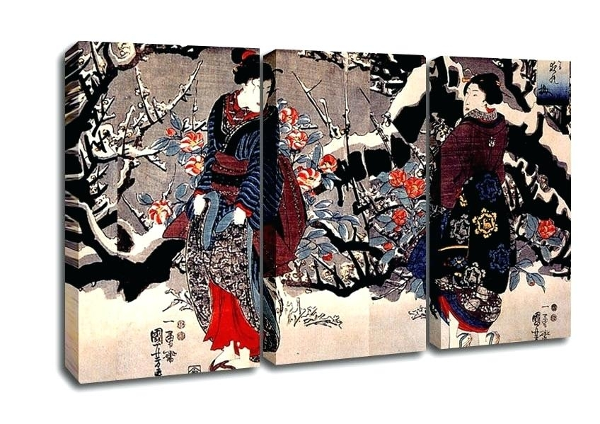 Japanese Canvas Wall Art Ethnic 3 Panel Women Canvas Art Japanese Throughout 5 Piece Wall Art (Image 19 of 25)