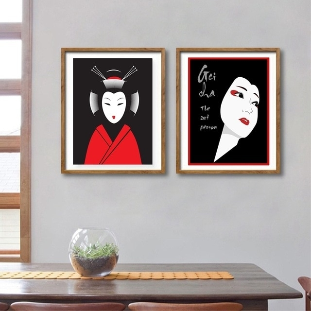 Japanese Geisha Canvas Art Print And Poster, Japanese Art Expert For Japanese Wall Art (Image 7 of 20)
