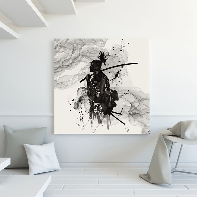 Japanese Wall Decor Black And White Wall Art Canvas Painting Inside Japanese Wall Art (Image 13 of 20)