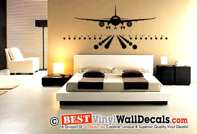 Jumbo Airplane Aircraft Landing Decal | Bestvinylwallart With Airplane Wall Art (Image 16 of 20)