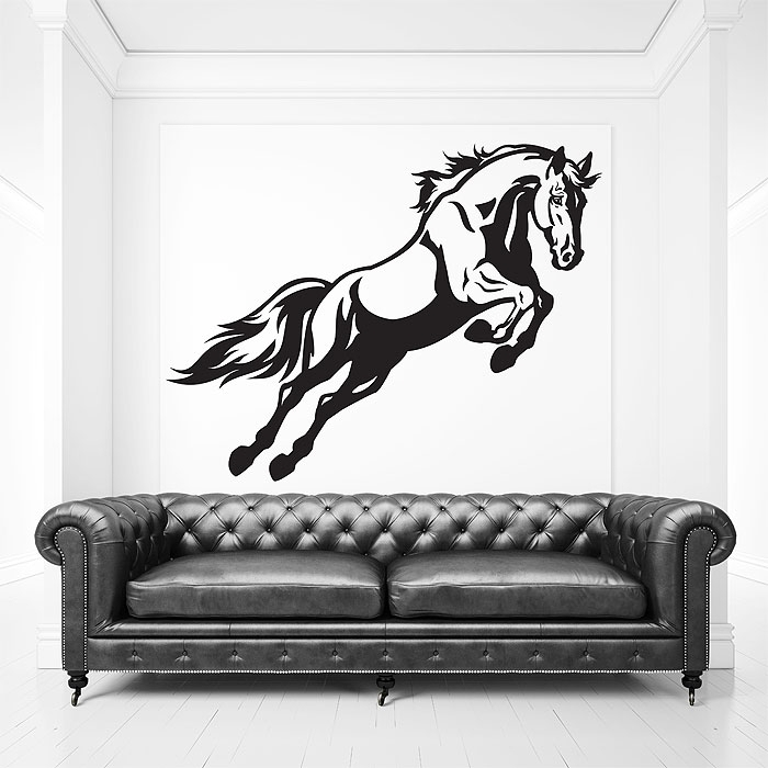 Jumping Horse Vinyl Wall Art Decal Pertaining To Horse Wall Art (Image 3 of 10)