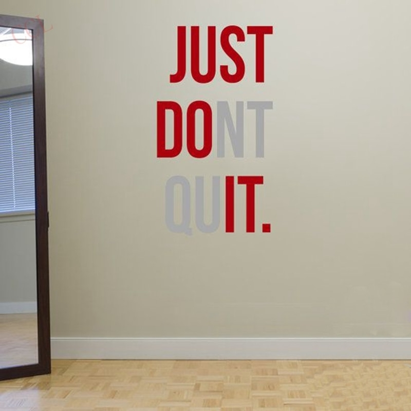 "Just Dont Quit"" Gym Workout Motivation Quote Words Vinyl Wall Art in Motivational Wall Art"