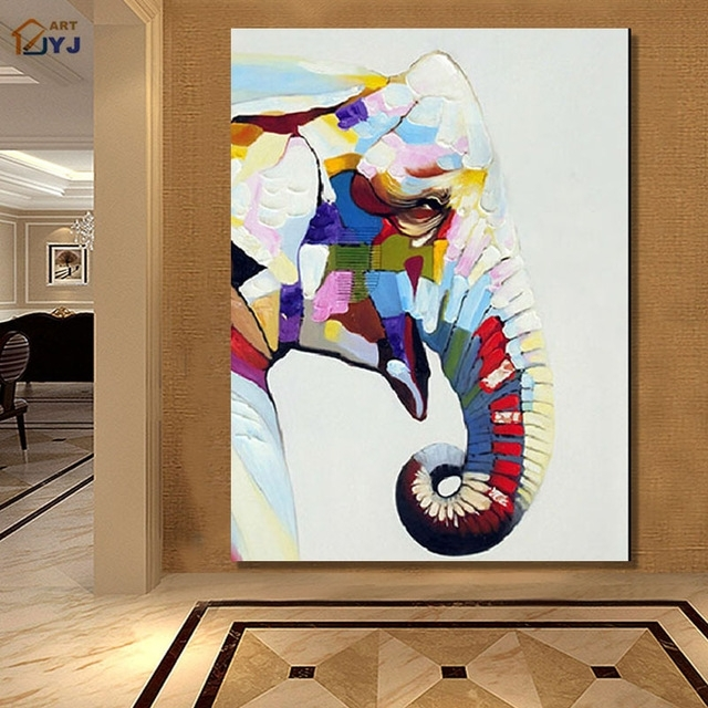Jyj Quality Cartoon Elephant Canvas Wall Art Picture Handpainted For Elephant Canvas Wall Art (View 7 of 20)