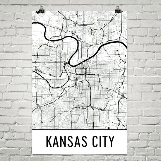 Kansas City Map Art Print, Kansas City Mo Art Poster, Kansas City Throughout Kansas City Wall Art (Image 10 of 25)