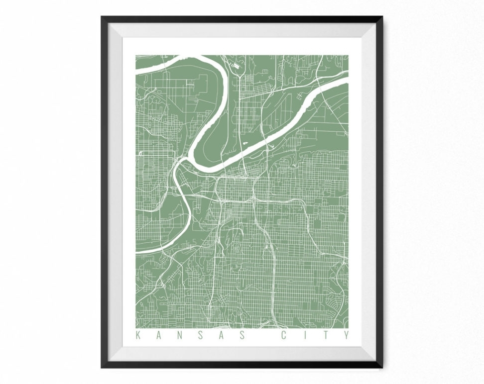 Kansas City Map Art Print / Missouri Poster / Kansas City Wall (View 20 of 25)