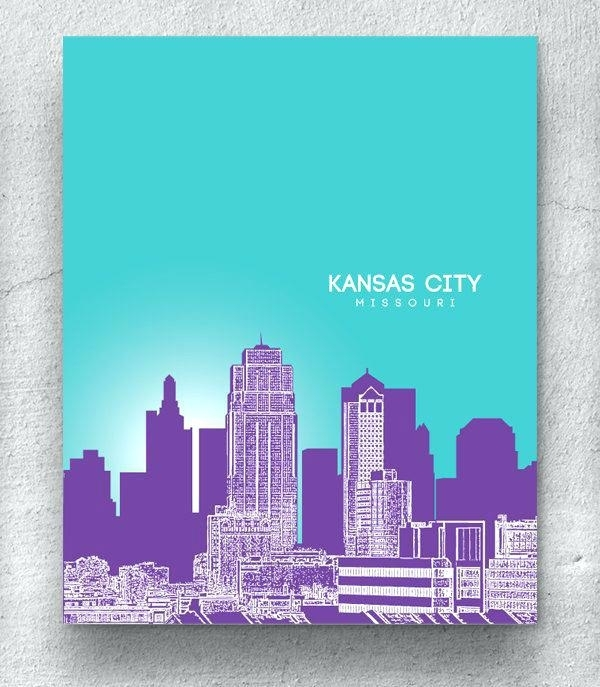 Kansas City Skyline Art City Skyline Blue Watercolor Print – 3Lancers (Image 12 of 25)