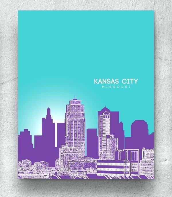 Kansas City Skyline Art City Skyline Blue Watercolor Print – 3Lancers (View 2 of 25)