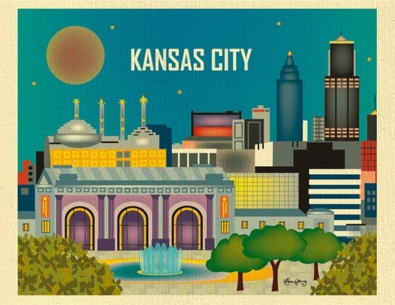 Kansas City Skyline Art Print Kansas City Wall Art Kansas | Etsy Pertaining To Kansas City Wall Art (Image 13 of 25)