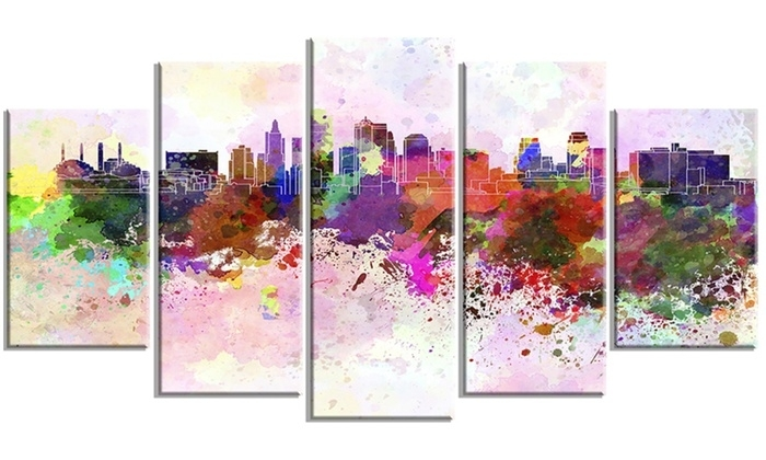 Kansas City Skyline Cityscape Metal Wall Art 60X32 5 Panels | Groupon Throughout Kansas City Wall Art (View 3 of 25)