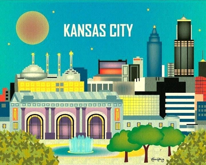 Kansas City Wall Art City Skyline Kansas City Skyline Wall Art In Kansas City Wall Art (Image 17 of 25)