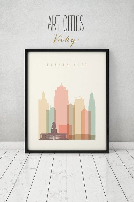 Kansas City Wall Art, Kansas City Print, Kansas City Skyline, Poster Regarding Kansas City Wall Art (Image 22 of 25)