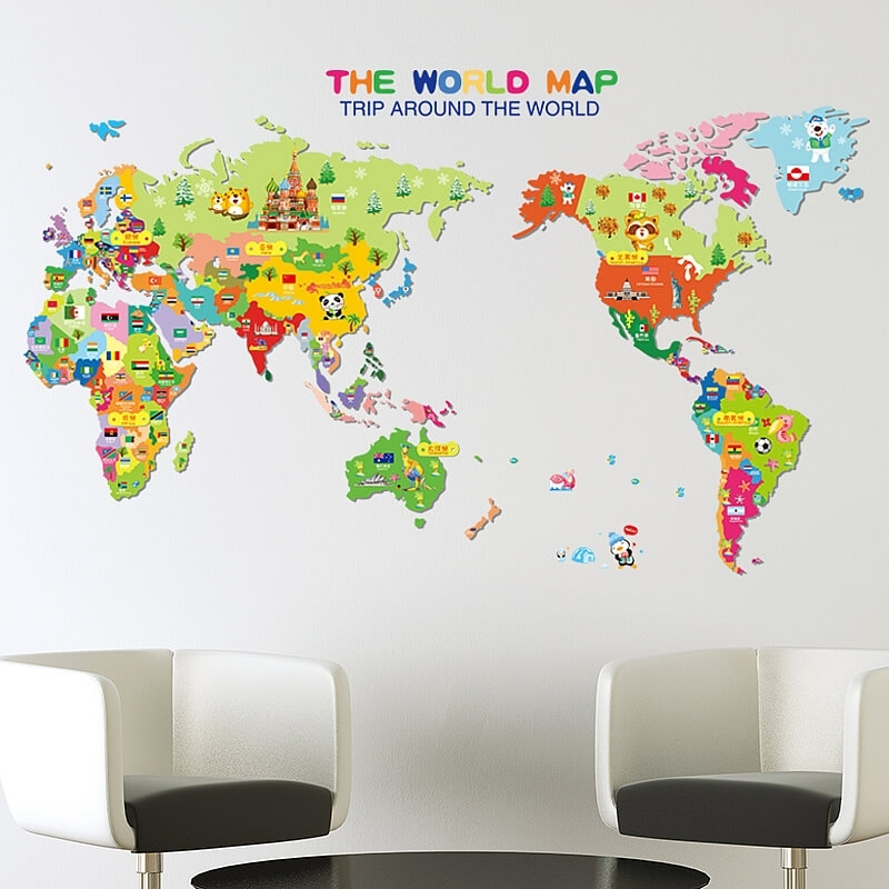 Kids World Map Wall Stickers Luxury World Map Vinyl Wall Sticker Pertaining To Vinyl Wall Art World Map (Image 13 of 25)
