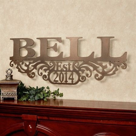 Kinship Bronze Family Name And Year Personalized Metal Wall Art Sign Throughout Personalized Metal Wall Art (Image 14 of 20)