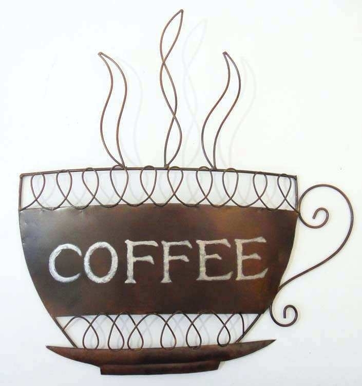 Kitchen Metal Wall Art Coffee Cup Wall Decor Inspirational Coffee Intended For Kitchen Metal Wall Art (Image 12 of 25)