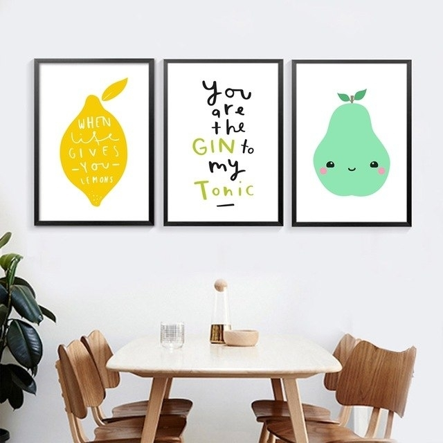 Kitchen Nordic Canvas Prints Wall Art Decor Fresh Fruit And Kawaii In Lemon Wall Art (Image 4 of 20)
