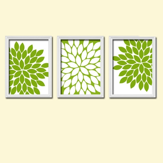Kitchen Wall Art Canvas Or Prints Apple Green White Flower Burst For Green Wall Art (Image 19 of 25)