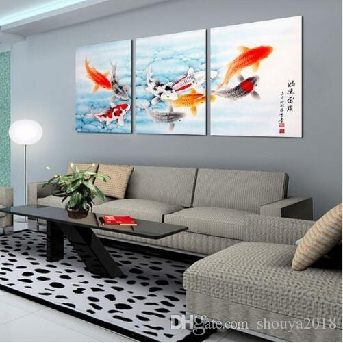 Koi Fish Wall Art Chinese Painting Wall Art On Canvas Home Decor Intended For Fish Painting Wall Art (View 3 of 25)