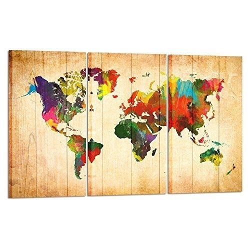 Kreative Arts – Large Canvas Wall Art Prints World Map Painting 3 Throughout Large Framed Canvas Wall Art (View 22 of 25)