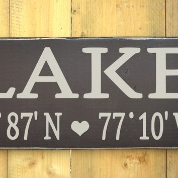 Lake House Decor Wall Art Latitude From Soflco | House Goals Intended For Lake House Wall Art (View 8 of 10)