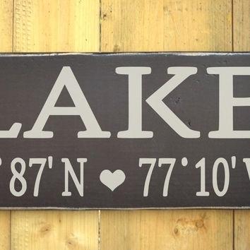Lake House Decor Wall Art Latitude From Soflco | House Goals Intended For Lake House Wall Art (Image 2 of 10)