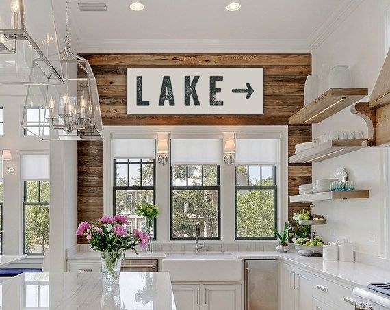 Lake Sign Arrow Large Canvas, Lake House Decor, Fixer Upper Decor In Lake House Wall Art (View 5 of 10)