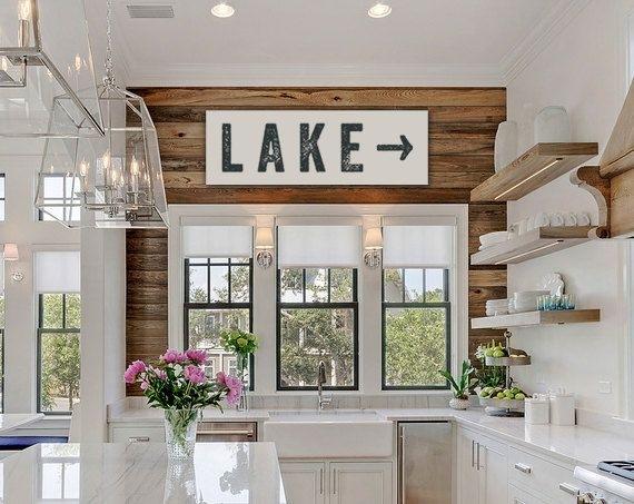 Lake Sign Arrow Large Canvas, Lake House Decor, Fixer Upper Decor In Lake House Wall Art (Image 4 of 10)