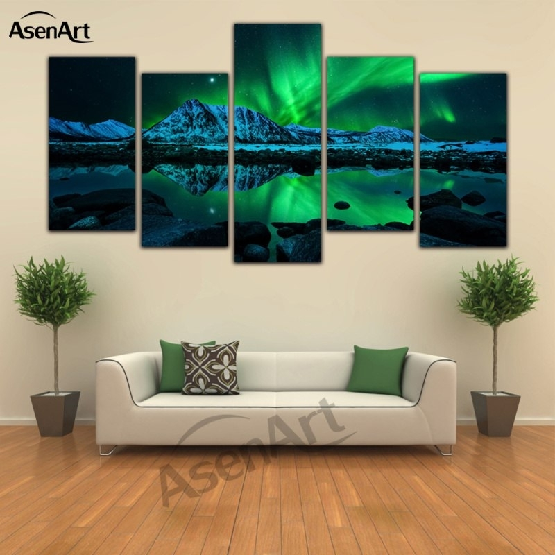 Landscape 5 Panel Canvas Art Aurora Borealis Oil Painting Print Wall With Wall Canvas Art (Image 9 of 10)