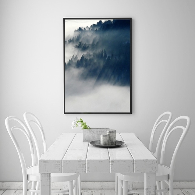 Landscape Cloud Forest Nordic Style Popular Canvas Print Painting With Regard To Popular Wall Art (View 8 of 20)