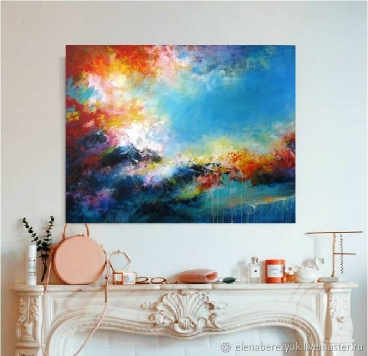 Large Abstract Acrylic Painting Living Room Wall Art Blue Painting With Regard To Acrylic Wall Art (Image 20 of 25)