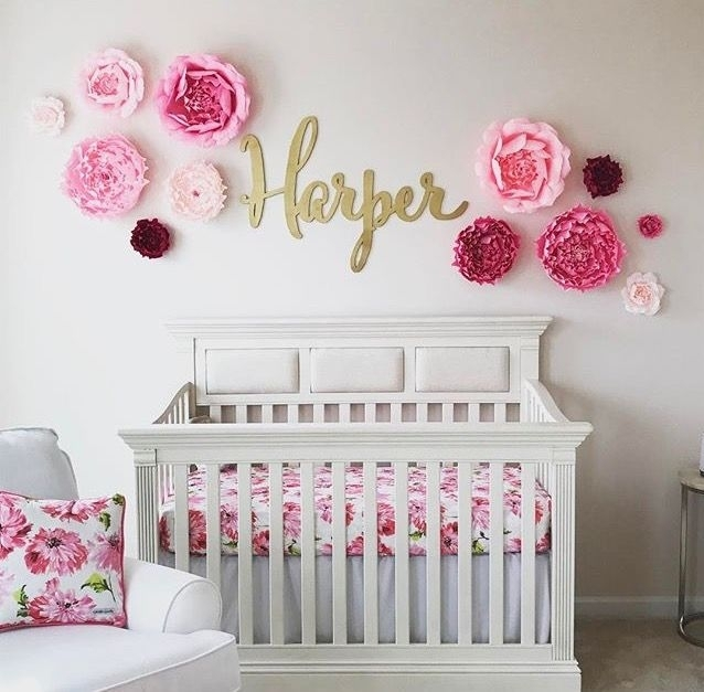Large Baby Name Sign, Wood Wall Name Sign, Different Font Selections Pertaining To Name Wall Art (View 3 of 25)