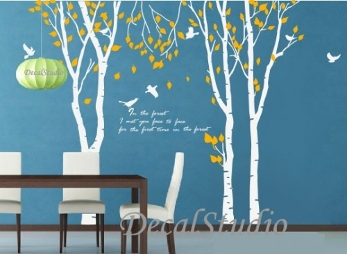 Large Birch Trees Set With Birds Vinyl Wall Decal,art,home Regarding Birch Tree Wall Art (View 16 of 25)