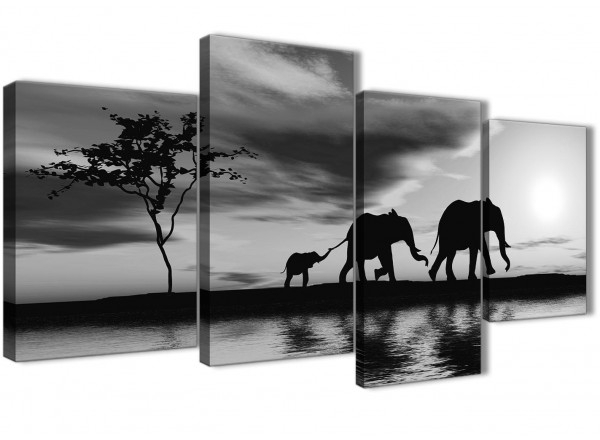 Large Black White African Sunset Elephants Canvas Wall Art Print Inside Elephant Canvas Wall Art (View 18 of 20)