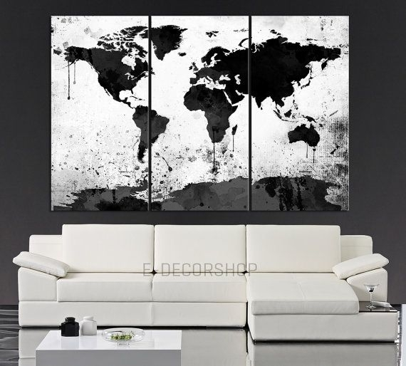 Large Black White World Map Canvas Print – 3 Piece Watercolor Splash Inside Black And White Large Canvas Wall Art (View 5 of 25)