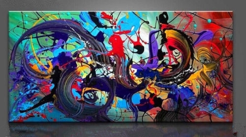 Large Canvas Wall Art Decor Modern Abstract Oil Painting Hand With Regard To Modern Abstract Painting Wall Art (View 24 of 25)