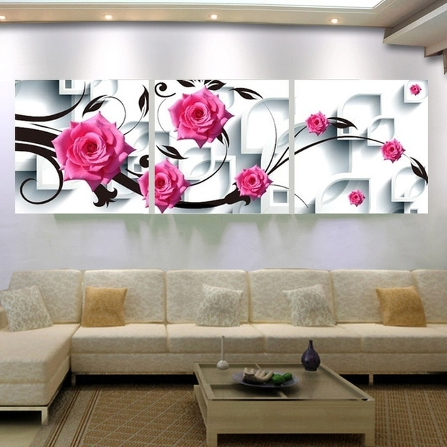 Large Canvas Wall Art Flower Canvas Painting 3D Rose Flower Wall For Flower Wall Art (Image 12 of 20)