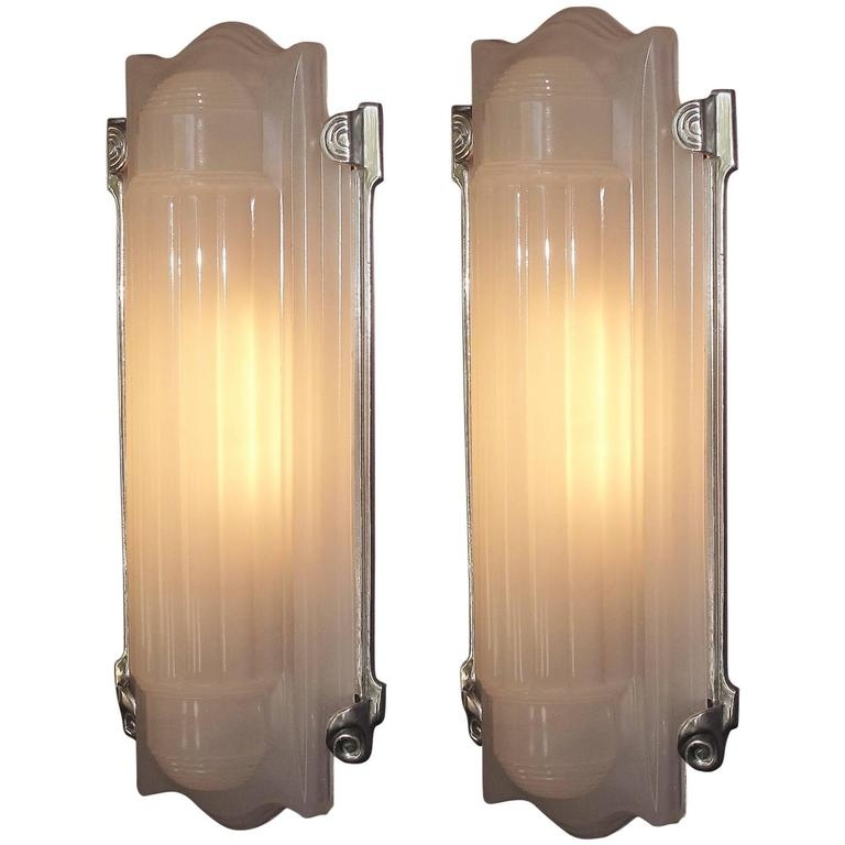 Large Elegant Art Deco Wall Sconces Home Theater At 1Stdibs Within Art Deco Wall Sconces (Image 14 of 25)