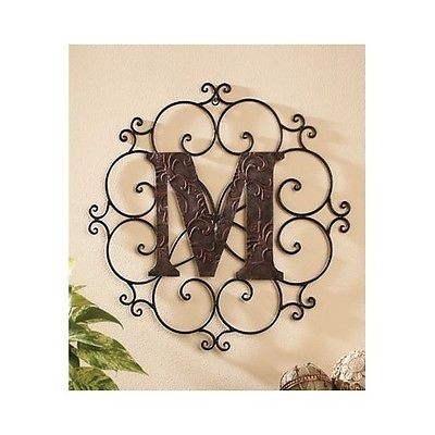 Large Metal Letter Wall Art Decorative Medallion Alphabet Sign Intended For Metal Letter Wall Art (Image 7 of 25)