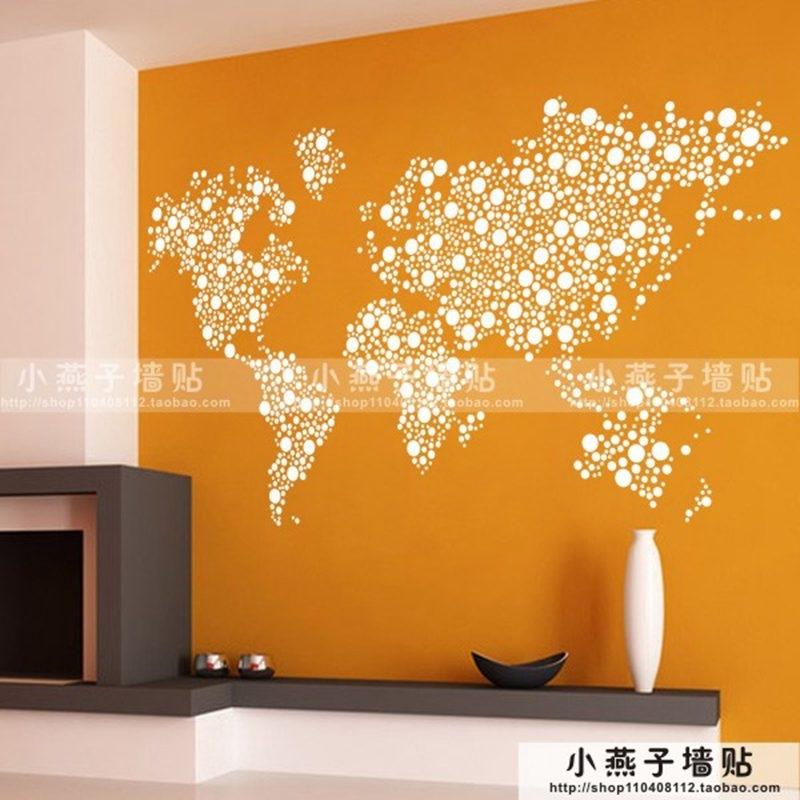 Large New Design Art Pattern Creative World Map Wall Stickers World Regarding Wall Art Stickers World Map (Image 7 of 25)