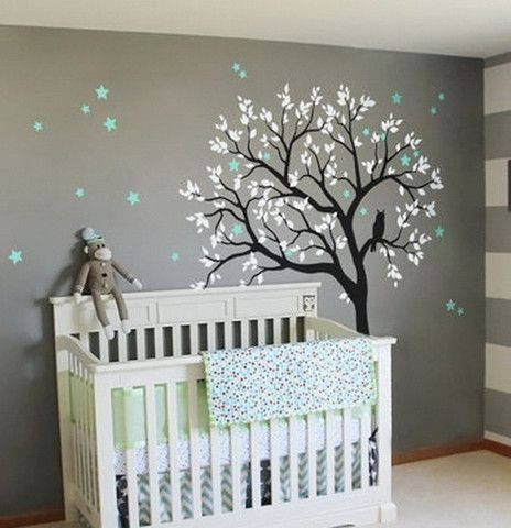 Large Owl Hoot Star Tree Kids Nursery Decor Wall Decals Wall Art With Regard To Baby Room Wall Art (Image 16 of 20)