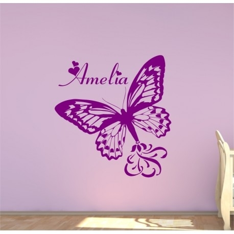 Large Personalised Butterfly With A Childs Name Bedroom Wall Sticker (Image 9 of 10)