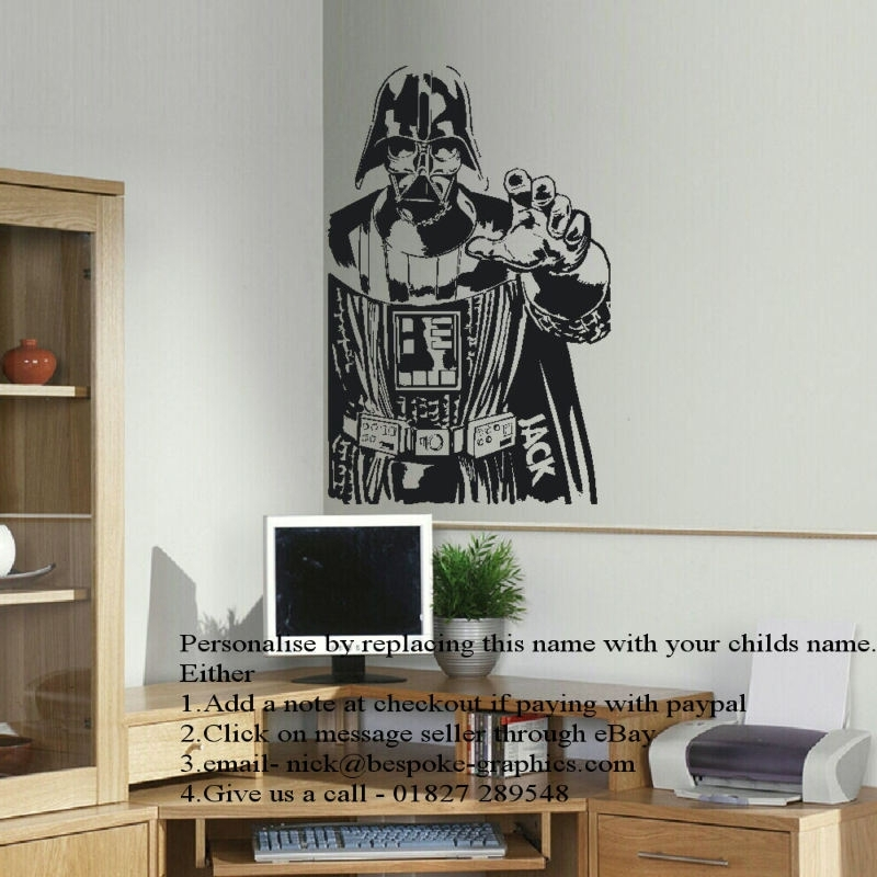 Large Personalised Darth Vader Star Wars Wall Art Sticker In Cut Regarding Darth Vader Wall Art (View 17 of 25)