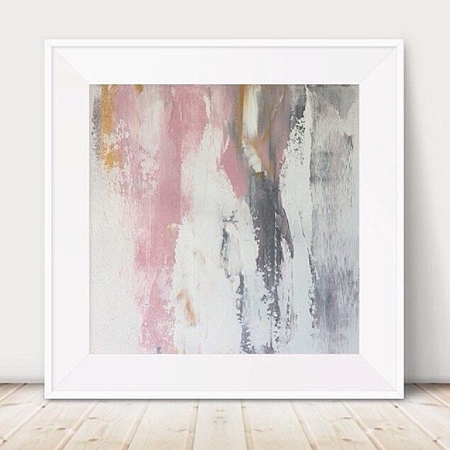Large Pink And Grey Painting Pink White Painting Metallic Abstract Inside Grey Wall Art (View 16 of 25)