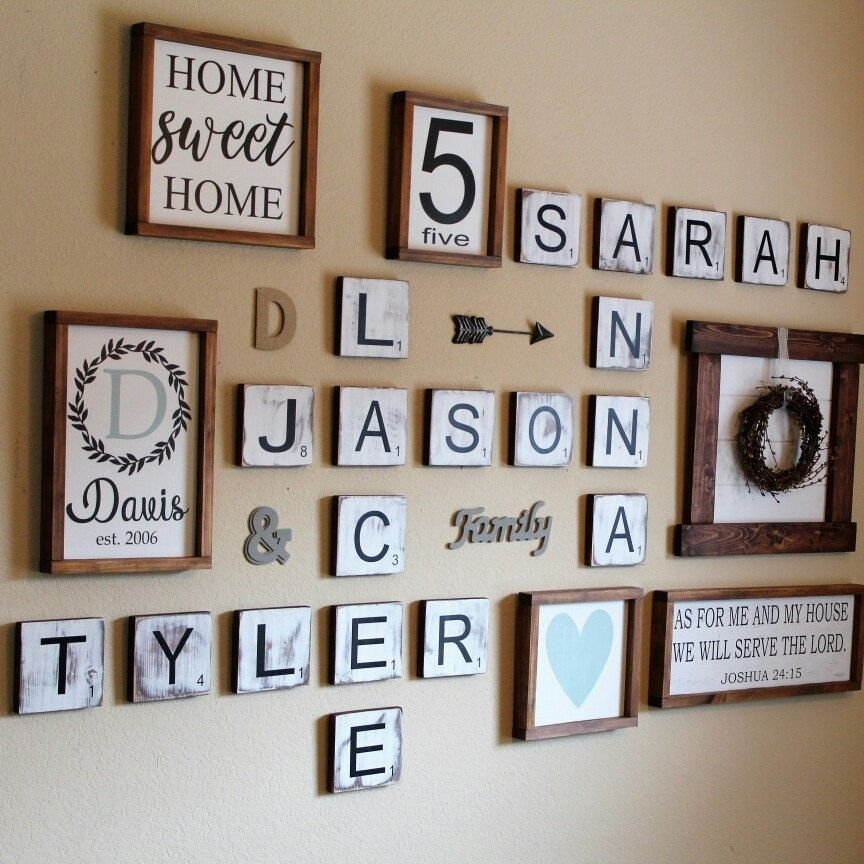 Large Scrabble Tiles, Scrabble Tiles, Scrabble Wall Art, Gallery With Regard To Scrabble Wall Art (Image 10 of 25)