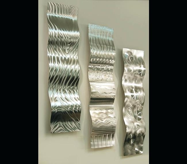 Large Silver Wall Art Forces Of Nature Modern Abstract Silver Metal Intended For Silver Metal Wall Art (Image 3 of 25)
