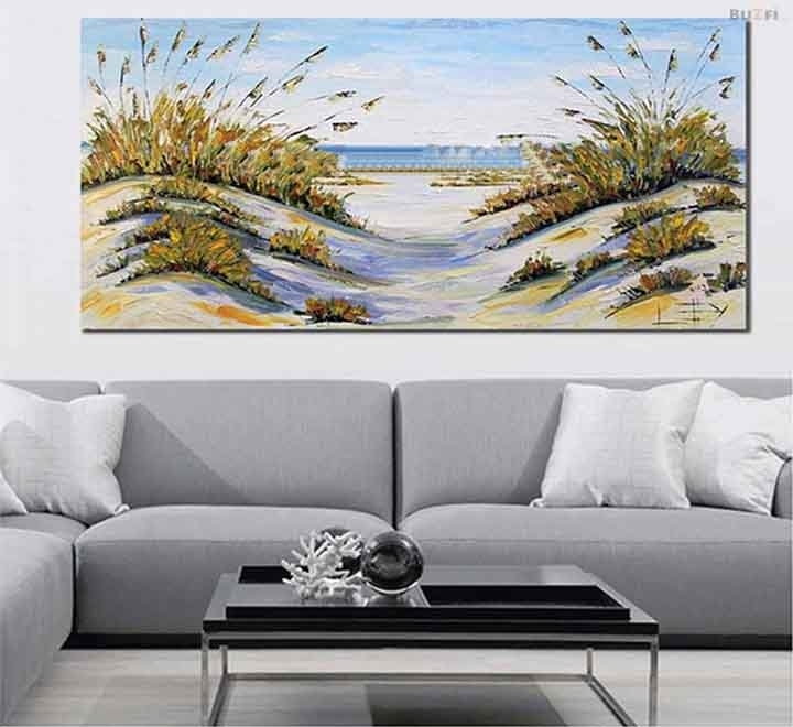Large Size Abstract Beach Decor Coastal Art, Ocean Oil Painting For Large Coastal Wall Art (View 20 of 20)