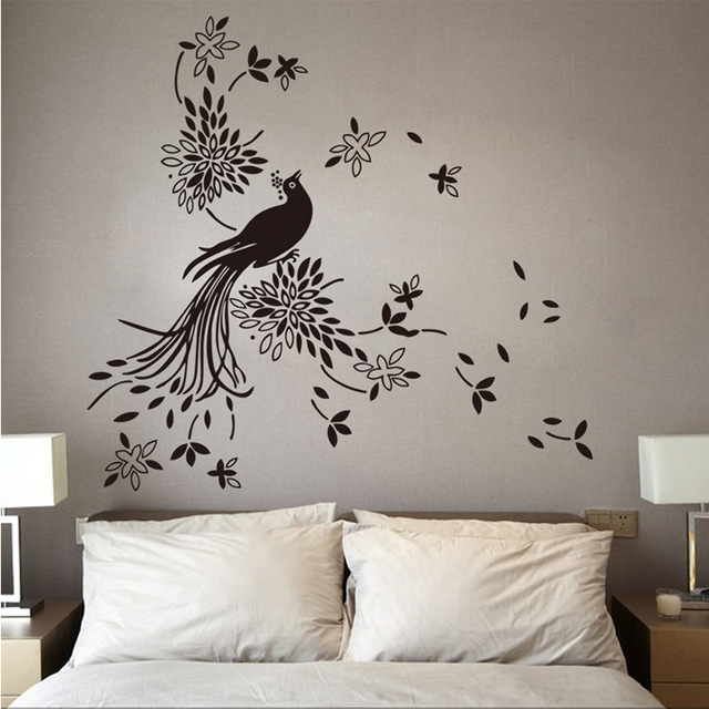 Large Size Pretty Birds Flying Wall Art Vinyl Decoration Removable With Bird Wall Art (View 2 of 10)