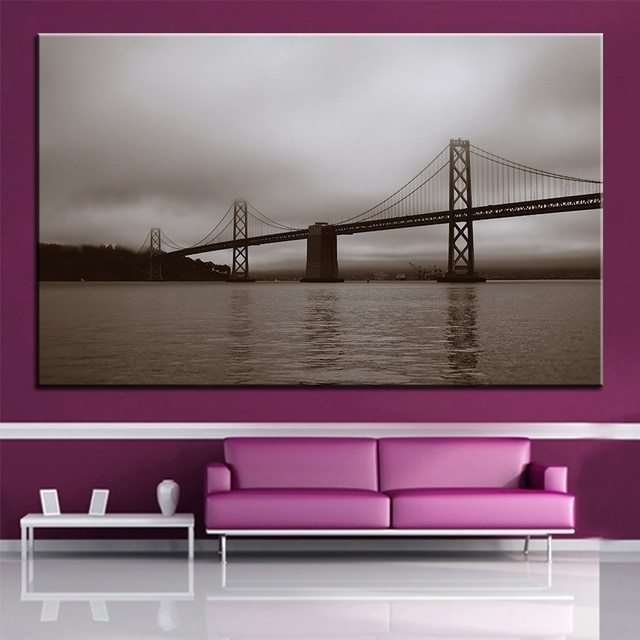 Large Size Printing Oil Painting Bay Bridge San Francisco Wall With Regard To San Francisco Wall Art (Image 10 of 25)