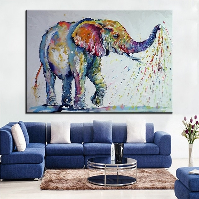 Large Size Printing Oil Painting Nice Elephant Wall Painting Wall For Elephant Wall Art (View 3 of 10)